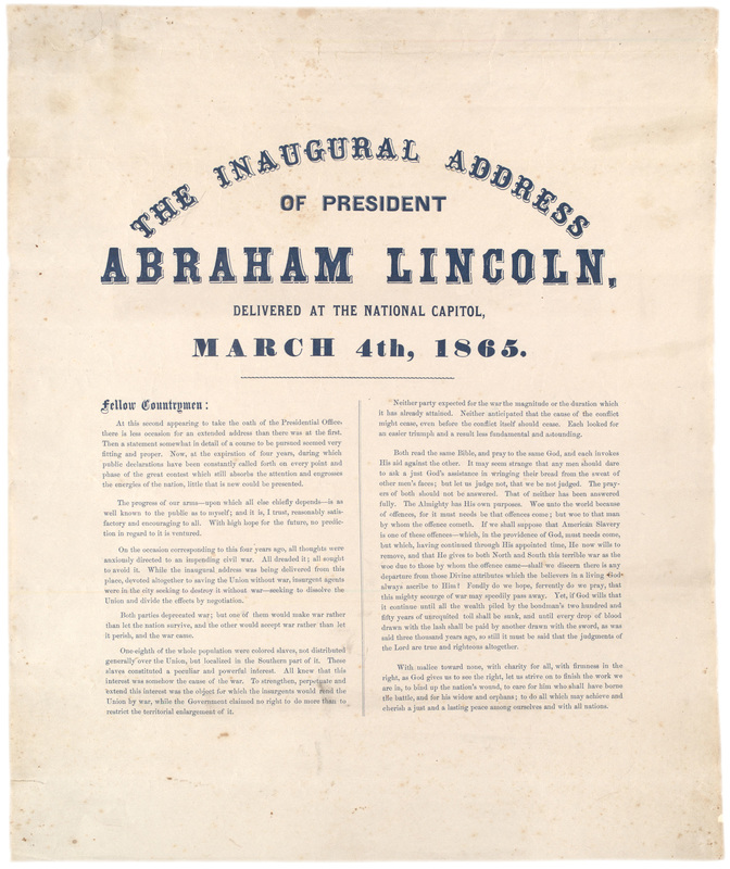 abraham lincoln's second inaugural address an On saturday march 4, 1865, president abraham lincoln was inaugurated and began his second term as president his address to the audience of thousands of spectators was brief, one of the shortest inaugural addresses on record.